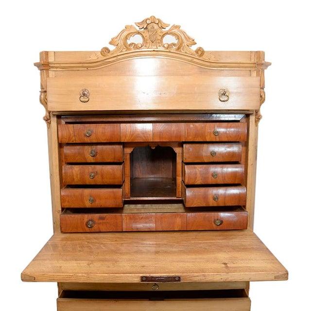 Swedish Pine Secrétaire à Abattant Desk C. 1860 For Sale - Image 4 of 11