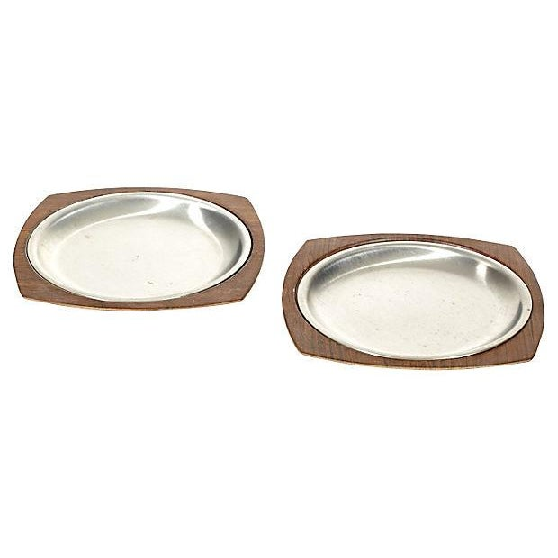 Stainless & Walnut Serving Plates - Pair - Image 1 of 4