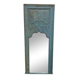 Distressed Blue Wood Framed Vertical Mirror For Sale