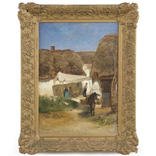 Traditional Albert Brendel Painting of Village Scene With Donkey For Sale