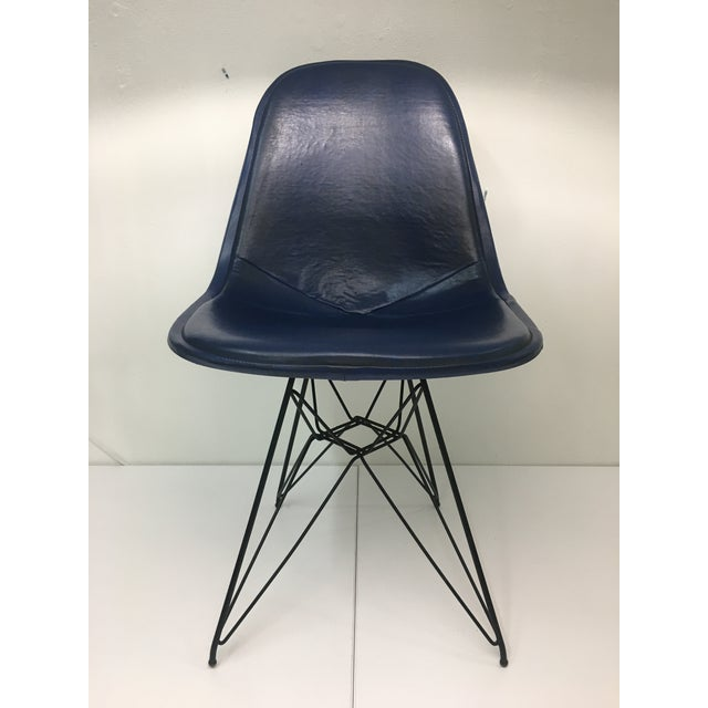 Eiffel Side Chair in Navy Blue Naugahyde by Charles Eames for Herman Miller For Sale - Image 10 of 10
