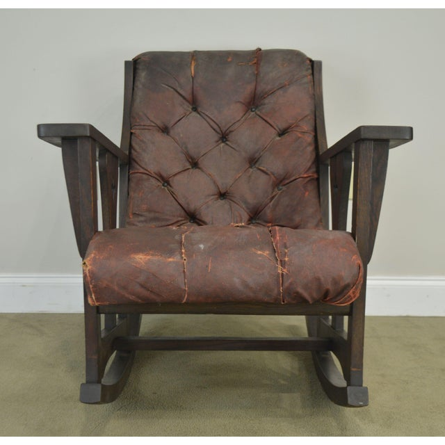Antique Mission Arts & Crafts Period Oak Rocker With Cut Outs- Possibly Limbert For Sale - Image 10 of 13