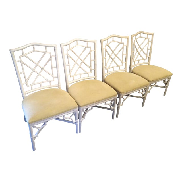 Set of 4 Palm Beach Regency White Chippendale Fret Work Dining Room Chairs For Sale