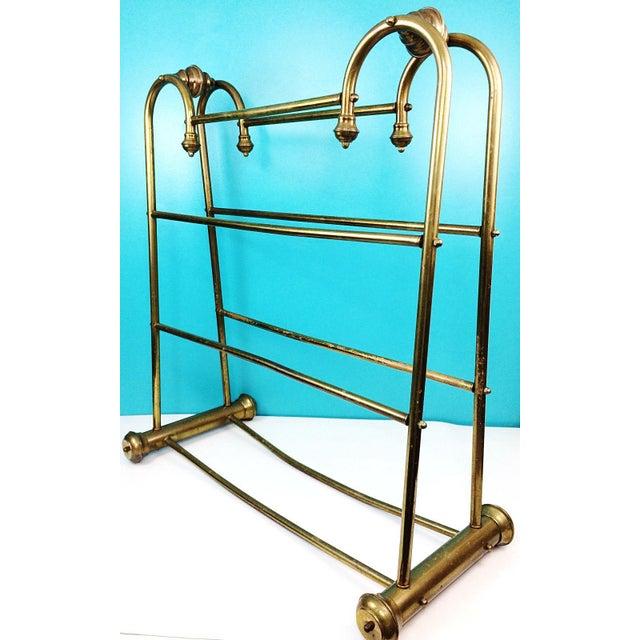 Hollywood Regency Brass Towel Quilt Floor Stand Rack - Image 6 of 6