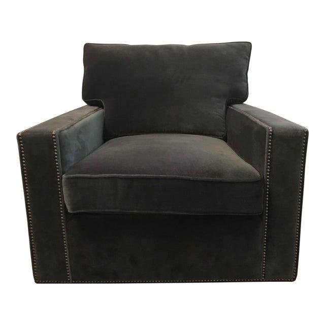 Blue Velvet Bernhardt Swivel Chair For Sale