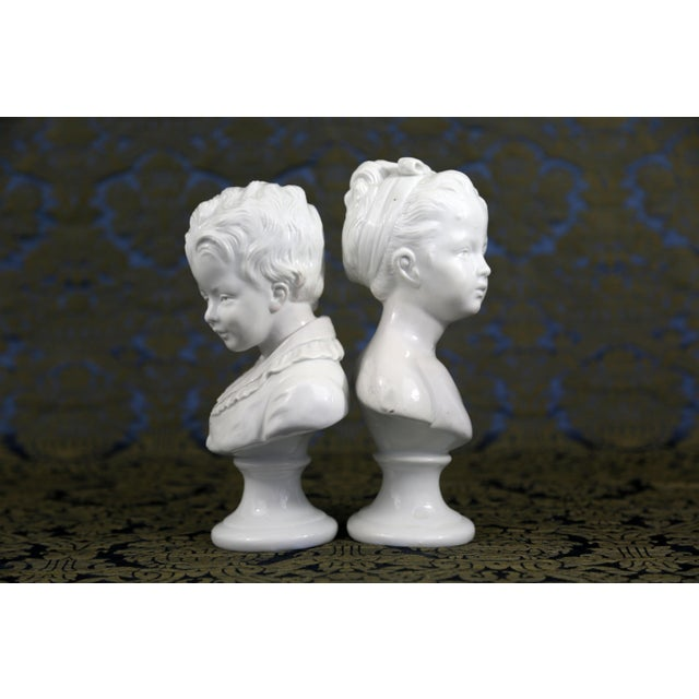 Vintage Porcelain Borghese Boy and Girl Busts by Houdon F. Kessler - a Pair For Sale - Image 10 of 10