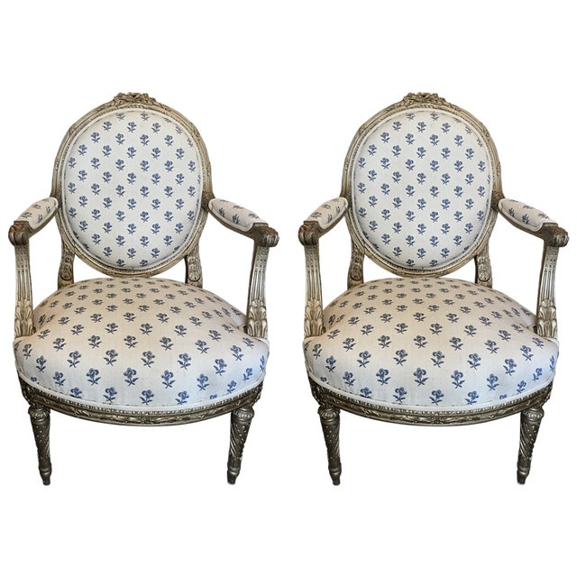Blue 19th Century French Louis XVI Style Giltwood Fauteuils For Sale - Image 8 of 8