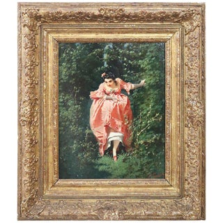 19th Century Important Italian Artis Oil Painting on Hardboard Girl in the Woods For Sale