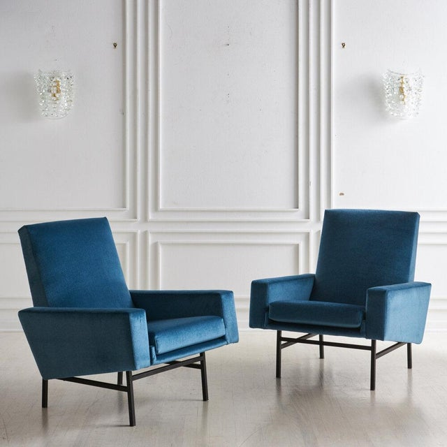 Blue Pair of Arp Lounge Chairs for Steiner, 1950s For Sale - Image 8 of 8