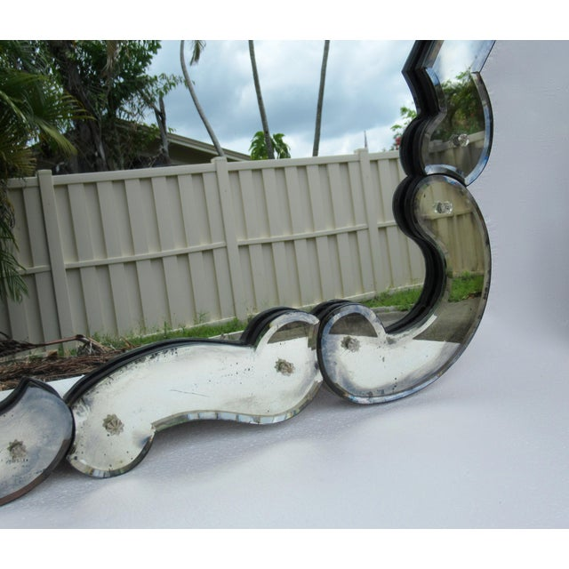 Transparent Large 1940's-50's Hollywood Regency Era, Venetian-Style Antique Acid Finished Wall Mirror For Sale - Image 8 of 13