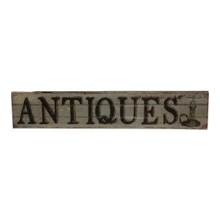 "Hand Painted ""Antiques"" Sign by Folk Artist M. Toupe"