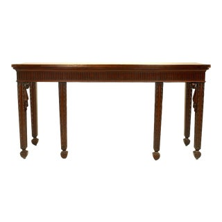 English Georgian Style '19th Century' Mahogany Six-Legged Console Table For Sale