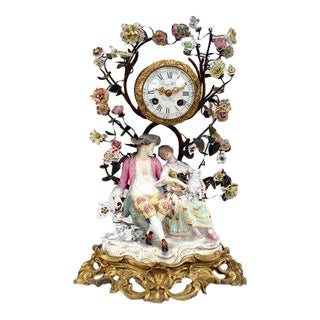 19th Century German Meissen Porcelain Clock For Sale