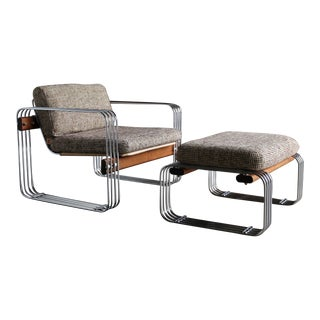 "Heinz Meier ""Ascona"" Lounge Chair & Ottoman for Landes, 1965 - a Pair For Sale"