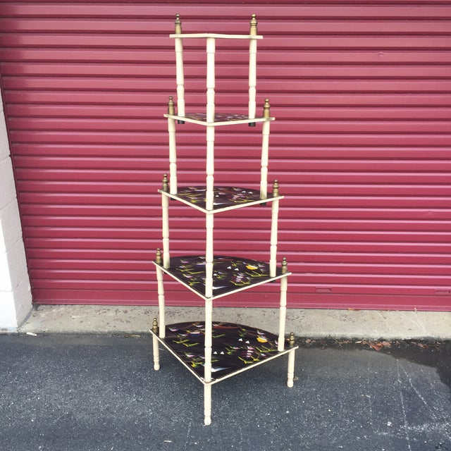 Chinoiserie 5 Tier Corner Shelf For Sale In Baltimore - Image 6 of 11