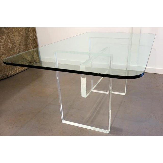 Custom made Lucite executive desk for the clutter free office. Could also work well as a dining table. Signed and dated 1977.