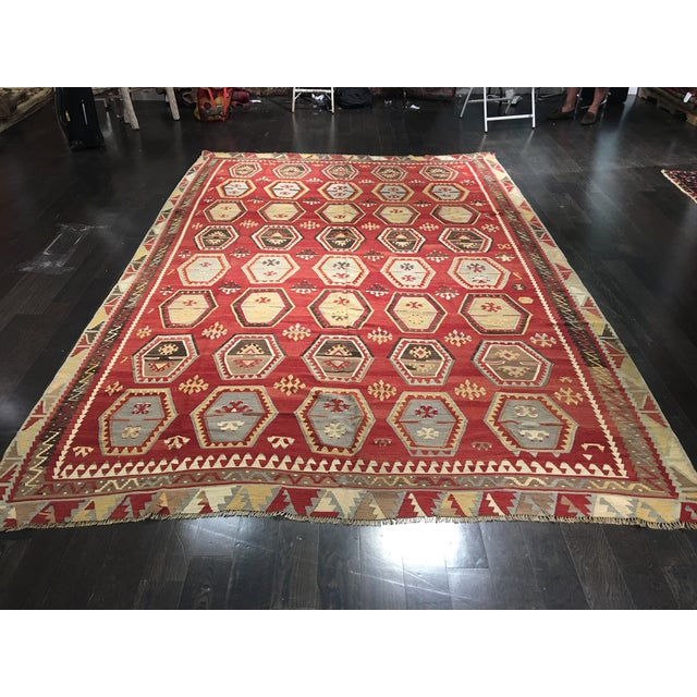 1920s Turkish Kilim - 8′1″ × 11′9″ - Image 3 of 8