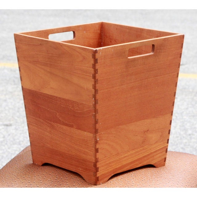 Here is a stylish vintage, 1960s-era, Mid-century Modern teak trash bin! It was produced by Nyborg in Denmark and is in...