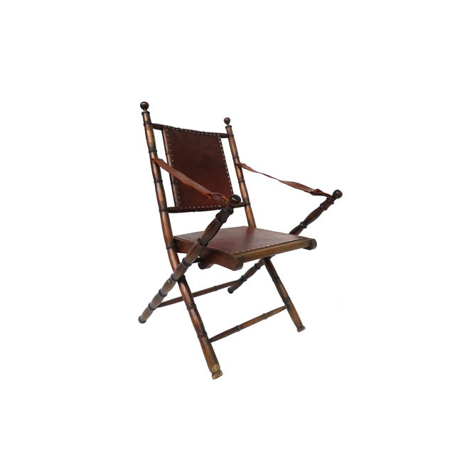 Campaign Style Leather & Ash Folding Chairs - Pair - Image 3 of 10