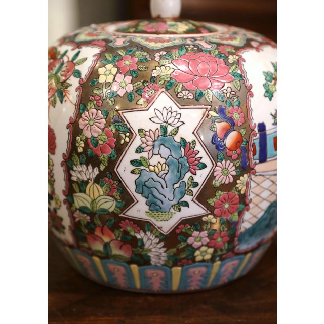 Mid 20th Century Mid-Century Chinese Famille Rose Porcelain Melon Jars - a Pair For Sale - Image 5 of 11