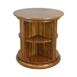 Zebrawood Round Revolving Library Bookcase For Sale
