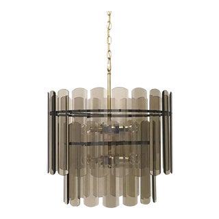 Smoke Glass 36 Panels 2 Tier 12 Light Chandelier Mid Century Modern For Sale