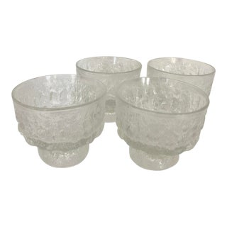 Set of 4 Brutalist Glasses From 70's For Sale