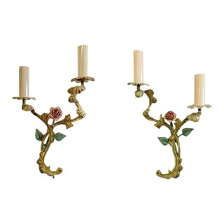 Green with a Rose Painted Enamel Cast Iron Floral Sconces - a Pair For Sale
