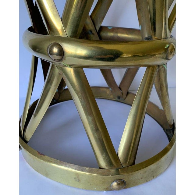 Tribal 1970s Brass X-Frame Tabouret Stool For Sale - Image 3 of 7