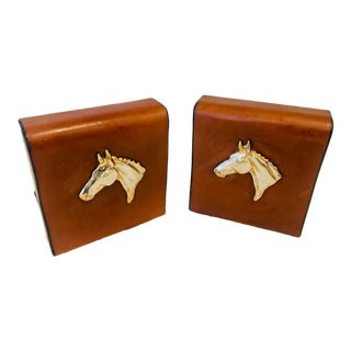 English Traditional Equestrian Theme Leather Book Ends - a Pair For Sale