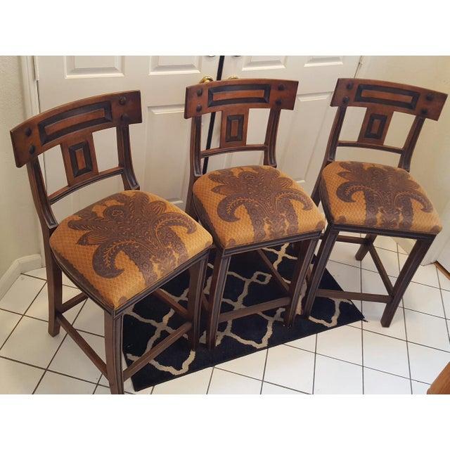 Michael Taylor Walnut Bar Stools - Set of 3 - Image 2 of 11