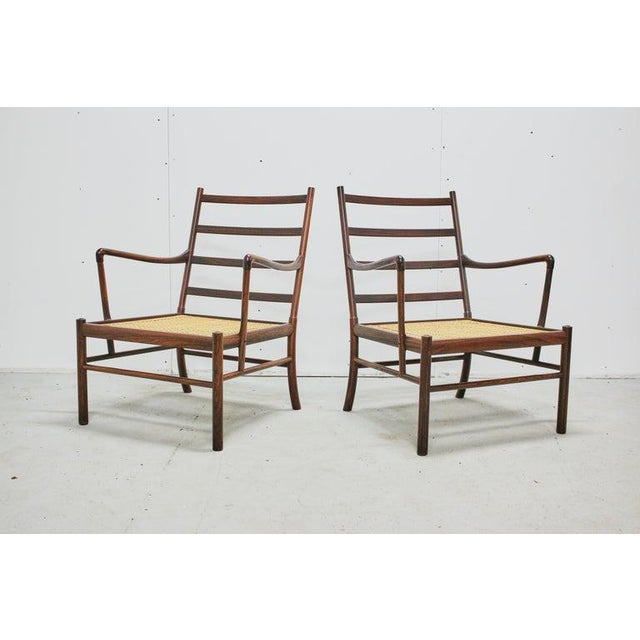 Wood Rosewood Ole Wanscher Colonial Chairs, P. Jeppesens Møbelfabrik, Denmark, 1960s For Sale - Image 7 of 13