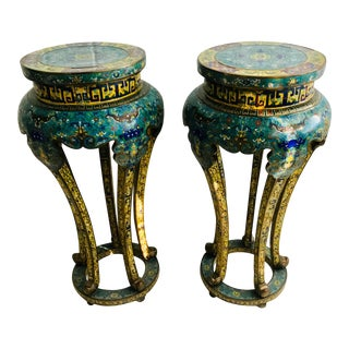 Vintage Mid Century Chinese Ming Design Cloisonne Pedestals- A Pair For Sale