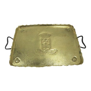 Antique French Brass Coat-of-Arms Tray
