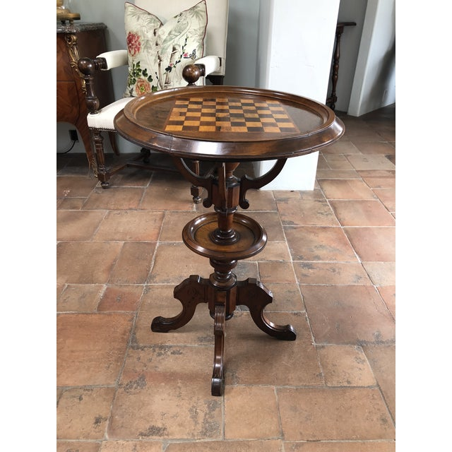 Cherry Wood Early 20th Century English Cherry Chess Table For Sale - Image 7 of 7