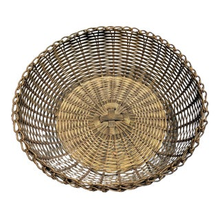 Boho Chic Organic Modern Woven Brass Bowl For Sale