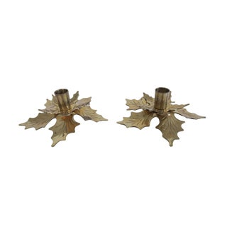 Vintage Gold Brass Leaf Taper Candle Holder Set of 2 For Sale