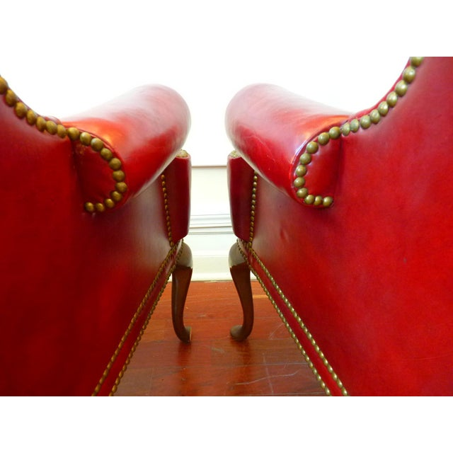 Vintage Red Leather Wingback Chairs With Nailhead Detail and Generous Proportions- Pair For Sale - Image 9 of 13