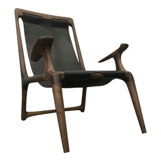 Solid Walnut & Leather Sling Chair For Sale