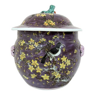 Vintage Chinese Export Everlasting Spring Purple Ginger Jar With Green Foo Lion Finial For Sale