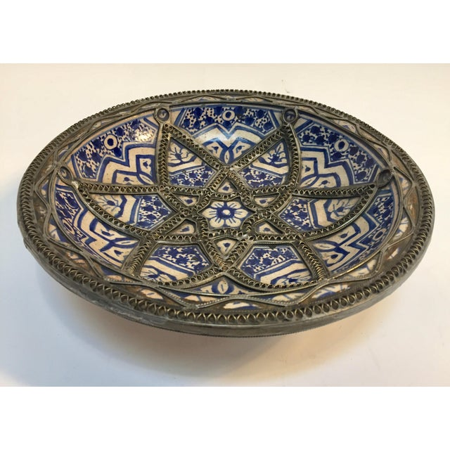 Decorative Moroccan Blue and White Handcrafted Ceramic Bowl From Fez For Sale - Image 12 of 12