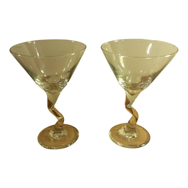 Glass Zig Zag Stem Wine Glasses - A Pair For Sale