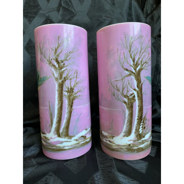 Glass 19th Century French Baccarat Opaline Pink & White Glass Vases - a Pair For Sale - Image 7 of 13