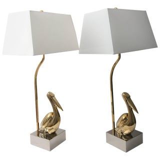 American Art Deco Revival Table Lamps With Figural Pelicans - a Pair For Sale