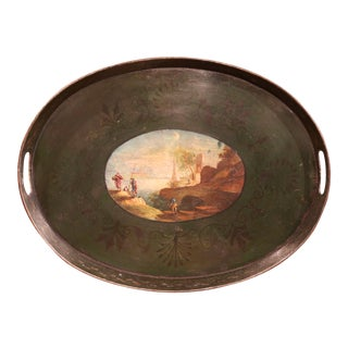 19th Century French Napoleon III Hand-Painted Tole Tray With Coastline and Cliff