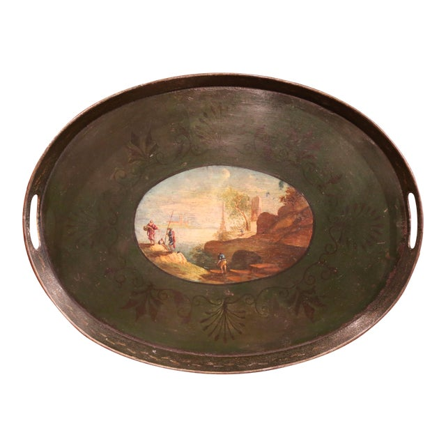 19th Century French Napoleon III Hand-Painted Tole Tray With Coastline and Cliff For Sale
