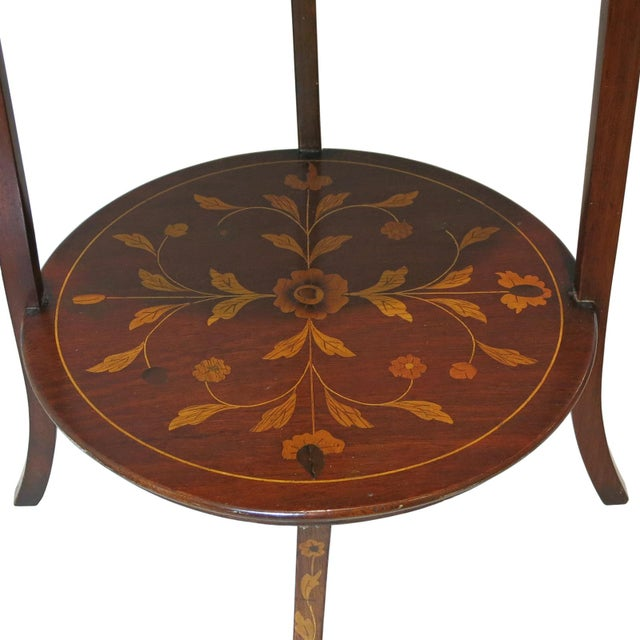 Tuscan Late 19th Century Antique Marquetry Inlaid Mahogany Muffineer Stand For Sale - Image 3 of 5