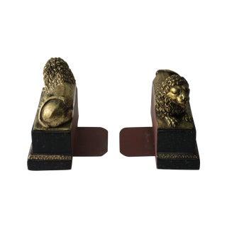Gold & Black Lion Bookends - a Pair