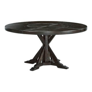 Rustic Round Dark Ale Dining Table