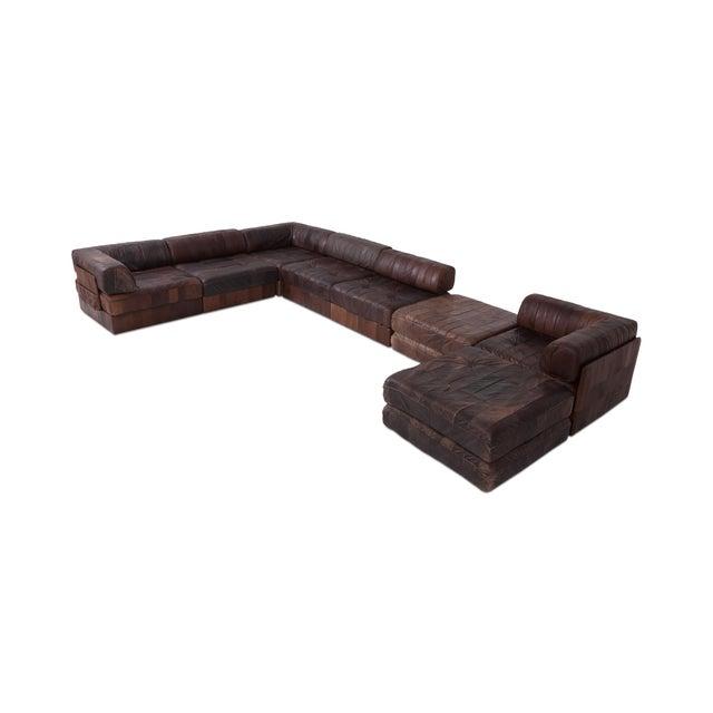 Mid-Century Modern De Sede Ds88 Modular Brown-Cognac Leather Patchwork Sofa For Sale - Image 3 of 8